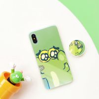 蓝光卡通可爱呆萌小鳄鱼iPhoneX手机壳气囊支架苹果7恐龙8plus软