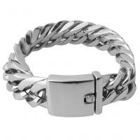 eBay亚马逊速卖通货源男士钛钢不锈钢银色粗款双扣四面手链17mm