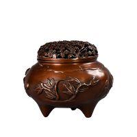 四季梅花盖熏炉铜香炉家用香炉佛堂佛具用品摆件铜窗台