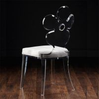 博卡伦9-854亚克力透明梳妆椅时尚花朵客厅椅餐椅