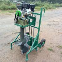 多功能手推挖坑机 手提式植树挖坑机 启航四轮带打眼机价格