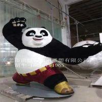 玻璃钢卡通功夫熊猫雕塑商场影院户外装饰品仿真动物景观美陈摆件