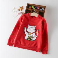 童装儿童招财猫针织衫男童女童红色毛衣宝宝纯棉针织打底衫