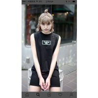 日本小众潮牌FR2原宿无袖修身纯棉字母印花连衣裙