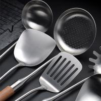 木柄304不锈钢厨具 防烫炒菜锅铲子漏勺汤勺煎铲烹饪炊具厨房