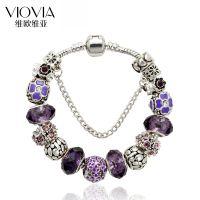 速卖通热销DIY紫色水晶珠串珠charm手链 手工镶钻小花串珠手饰