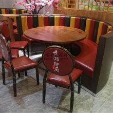 工业风菜馆弧形卡座沙发桌子和椅子搭配效果展示