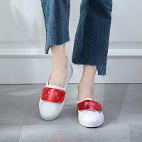 【一鞋三穿】白鹿大人2018新款真超纤拼色浅口护士休闲单鞋女鞋子