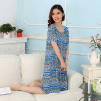 妈妈睡裙40-50-60岁连衣裙中长款夏季中老年人绸睡衣女士