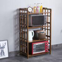 超厚竹厨房置物架微波炉架收纳用品架落地多层三四实木架子烤箱架