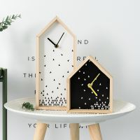 JSH美式创意家居室内卧室房子钟表时钟装饰品摆件奶茶店服装店小