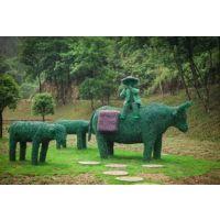 牧童骑牛绿雕定制 农耕文化稻草人制作中 成都雕塑厂