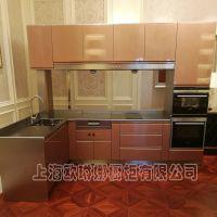 纯不锈钢整体厨房厨柜不锈钢橱柜定制不锈钢台面大功率油烟机定做