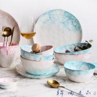 出口北欧西餐盘子骨瓷家用餐具套装复古创意牛排盘陶瓷水果盘圆盘