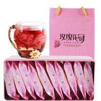 云南墨红玫瑰花冠茶独立包装一朵一杯12朵礼盒装厂家批发墨红玫瑰