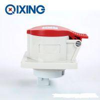 启星QX1390 4P/16A欧标工业暗装直插座