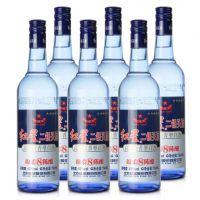厂家代理 现货供应红星蓝瓶二锅头43度500ml整箱清香型二锅头
