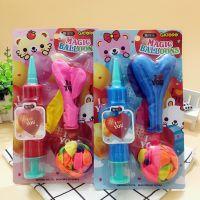 南韩圆形气球爱心造型气球带打气筒套装百变造型彩色生日礼物气球