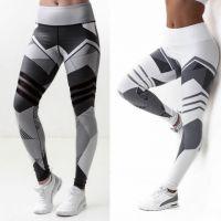 欧美爆款2018速卖通热销夏季新款印花网纱拼接提臀高腰运动瑜伽裤