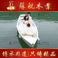 苏航厂家定制4米一头尖欧式木船婚纱摄影道具装饰船仿古手划游船