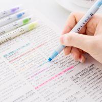 韩国双头固体荧光笔 学生用彩色重点划线标记笔记号笔 12色可选