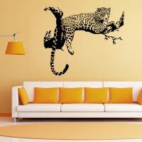 外贸新款豹子贴纸个性创意墙贴 客厅卧室装饰贴画pvc透明膜