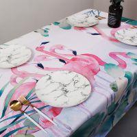 一件代发丛林火烈鸟餐桌桌布ins美式客厅棉麻盖巾绿叶长方茶几布