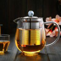 河间不锈钢玻璃茶壶高硼硅耐热500ml过滤茶漏玻璃茶具礼品定制
