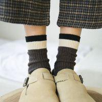秋冬新品堆堆袜女条纹中筒袜全棉粗线长筒袜麻花纹韩版复古袜子