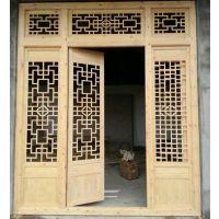 西安仿古门窗定制 松木门窗批发价格 镂空实木花格门窗