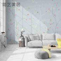 简约花卉定制壁画韩式电视背景墙客厅无缝壁纸美式田园无纺布墙纸