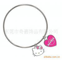 简单新颖 2.5mm线性挂kitty猫手环 韩版手链 饰品批发