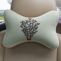 汽车头枕护颈枕头四季棉麻车用创意记忆棉骨头枕卡通靠枕脖子枕