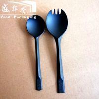 一次性塑料火金龟甜品勺+纸巾套装叉勺烧仙草调羹圆头勺黑色亚光