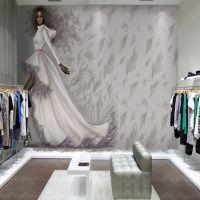 工装背景墙壁画3D复古墙纸 手绘美女服装店立体无缝壁纸厂家直销
