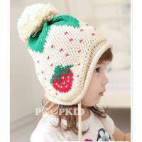 秋冬新款双球草莓护耳宝宝毛线帽 冬季男女儿童保暖针织毛线帽子