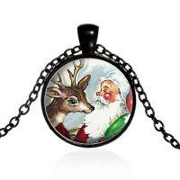 速卖通货源麋鹿圣诞老人时光宝石项链圣诞节礼物合金玻璃毛衣链批