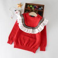 童装女童娃娃领套头衫儿童纯棉针织衫韩版女童红色玫红色双层提花打底衫MY-G858