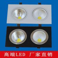 COB方型天花灯双头三头格栅方形LED射灯客厅餐厅筒灯黑银白壳全套