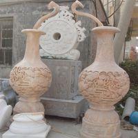 福建惠安晚霞红石雕花瓶别墅室内镇宅招财龙凤呈祥雕刻工艺品摆件