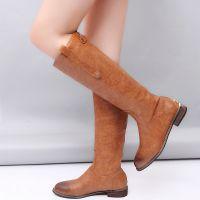 跨境外贸大码平底拉链皮靴 速卖通ebay爆款女靴 俄罗斯Aliexpress