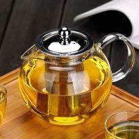 加厚花茶壶玻璃泡茶壶过滤 圆趣不锈钢茶漏三用壶可定LOGO