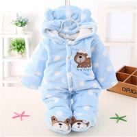 新款婴儿棉冬季加厚夹棉棉连体衣新生儿小羊外出爬服宝宝棉衣