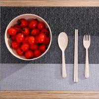 环保小麦秸秆大公碗三件套可降解大公碗汤碗送餐具三件套