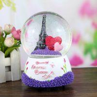 100#铁塔旋转水晶球玫瑰树脂八音盒装饰摆件结婚礼物音乐盒1329