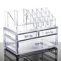 桌面抽屉式亚克力透明大号梳妆台塑料护肤整理置物架