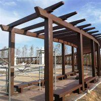 厂家专业加工户外长廊 凉亭水泥仿木制品