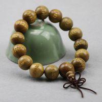 厂家批发 绿檀15mm佛珠手串 绿檀手链念珠 精雕心经保平安 男女款