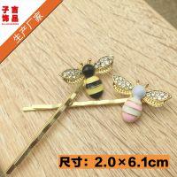 韩版手工发饰头饰品 日韩可爱彩色小蜜蜂发夹刘海边夹一字夹批发