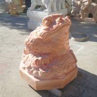 厂家供应大理石雕刻晚霞红石雕金蟾招财蟾蜍批量销售